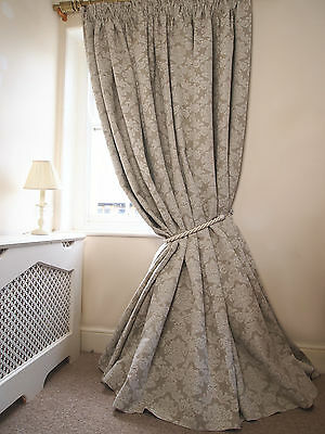 New Pair of 100% LINEN Damask Lined INTERLINED Bespoke 2.8mWide 3.05mD CURTAINS