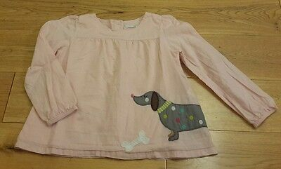 ex mini boden girls pink dog applique top 2-3 years