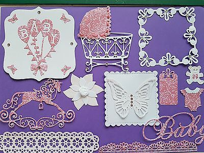 job lot of card making, craft and scrapbooking clear out bundle lot baby girl.