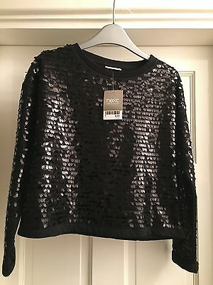 Next Girls Black Sequin Top Age 10 Years BNWT