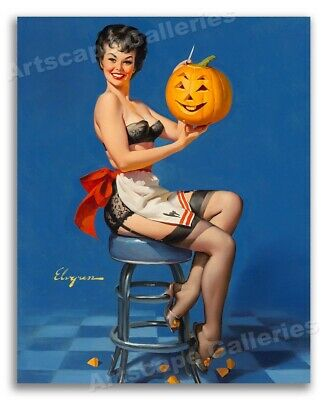 """""""All Smiles"""" Vintage Style Elvgren Pin-Up Girl Pumpkin Carving Poster - 24x30"""
