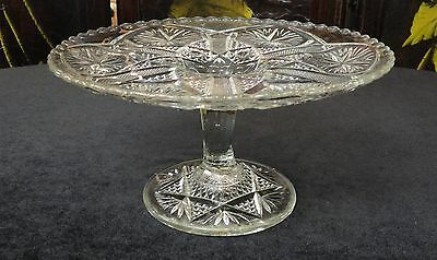 """VINTAGE Antique EAPG Pattern Glass STAR & FILE 8 1/4"""" X 4 1/4"""" High CAKE STAND"""
