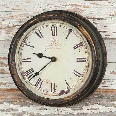 Shabby Chic Distressed Black Cafe Wall Clock Vintage Style French Country