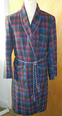 Vintage Mens Red Check Dressing Gown Robe