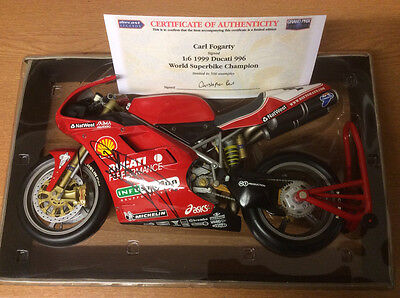 Carl Fogarty Signed. 1:6 Scale 1999, 996 Ducati.