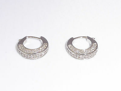 Ladies Jewellery Hallmarked Sterling 925 Solid Silver & White Sapphire Earrings