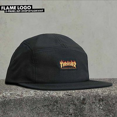 Thrasher Flame Logo 5 Five Panel Ripstop Nylon Cap Hat Black Supreme Camp