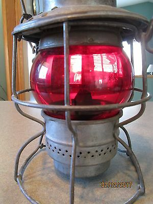 "Vintage 1950's CPR Canadian Pacific Railway LANTERN ""Ruby Red Globe"""