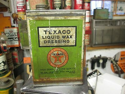 Original Early Texaco Black Tee Wax Dressing Quart Can By The Texas Oil Co.