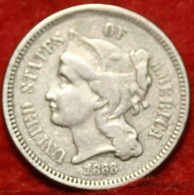 1868 Philadelphia Mint Nickel Three Cent Coin Free Shipping