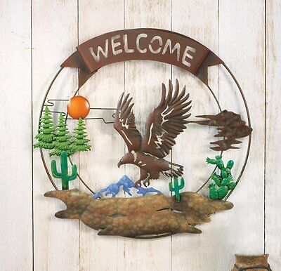 "Rustic Flying Eagle Wall Art w/ 3-D Desert Welcome Home Decoration 16""Dia"