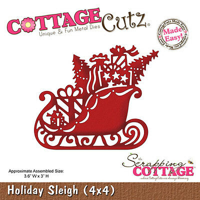 "Cottage Cutz Metal Die Cut Holiday Sleigh Approximately 4""x4"""