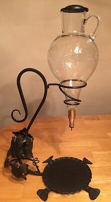 Vintage Etched Glass Decanter Hanging Wine Dispenser Wrought Iron Grape Leaves