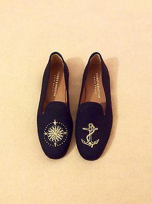 Stubbs And Wootton Nautical Slippers Loafers Shoes Black New Size UK 10 EU 44