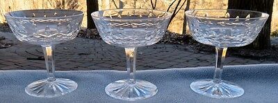 Set of THREE Waterford Crystal Lismore Champagne Sherbet Goblets