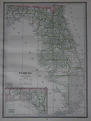 1886 Florida Antique Atlas Map^ ... Alabama map on back..131 years-old!!