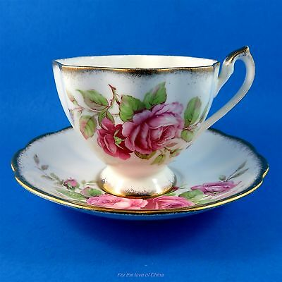 Pretty Pink Rose Bouquet Queen Anne Tea Cup and Saucer Set