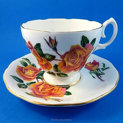 Queen Anne Orange Anniversary Rose Tea Cup and Saucer Set