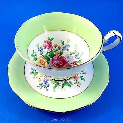 Green Border with Floral Center Queen Anne Tea Cup and Saucer Set