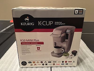New In Box Keurig K10 Mini Plus Coffee Maker For K-Cups, Platinum Silver