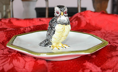 Porcelain BIRD OR HAWK Octagonal Dish Plate Mottahedeh Design Made in Italy