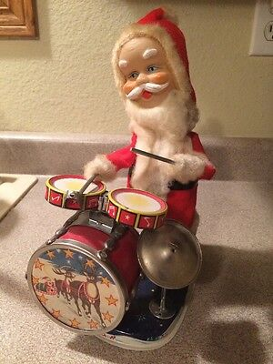 Rare VTG ALPS Tin Toy SANTA CLAUS playing DRUM set -Made In Japan BATTERY Toy