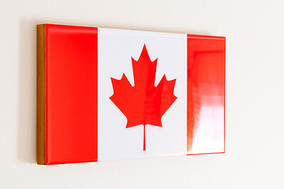 Canada Flag mounted on cradled wood panel with high gloss resin coating
