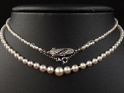 Antique Natural Raw Saltwater Graduated Pearl Necklace, 18ct Gold Diamond Clasp