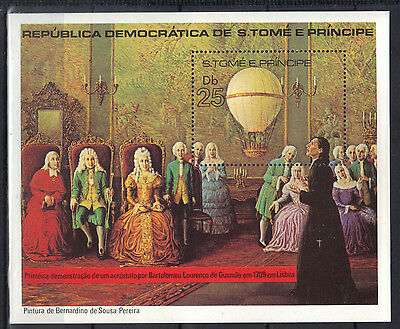 Sao Tome & Principe 1979 First Demonstration of Aerostat 1709 in Lisbon MNH S/S