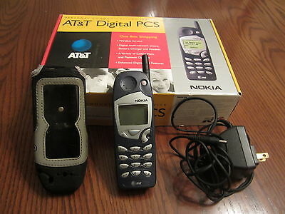 Vintage At&t Nokia Cell Phone With Cover, Charger And Box