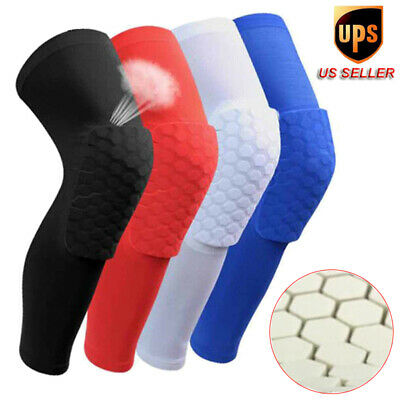 Black Crashproof Honeycomb Pad Football Basketball Leg Long Sleeve Knee Support