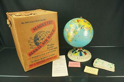 1950's REPLOGLE GLOBES MAGNETIC GLOBAL AIR RACE AIRPLANE GAME W/ PEICES AND BOX