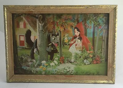 "Victor Anderson 3-D Lentograph Plate #213 Red Riding Hood Vintage Framed 14""x10"""