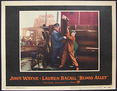 Blood Alley Original 1955 Lobby Card #2 John Wayne, Lauren Bacall, Action Drama