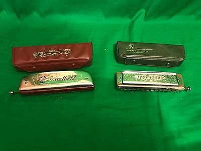 LOT OF 2 OLD VINTAGE HOHNER HARMONICAS # 270 and CHROMETTA 12 IN ORIGINAL BOX