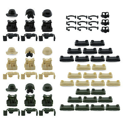 Custom Military Army Armor Hats Pack Compatible for Lego Set Minifigures Weapons