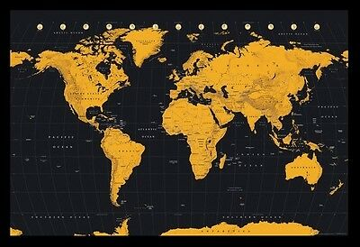 (FRAMED) CONTEMPORARY WORLD MAP GOLD POSTER 96x66cm PRINT PICTURE ART