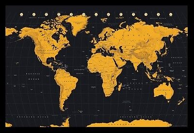 (Framed) Contemporary World Map Gold Poster 66X96Cm Print Picture Art