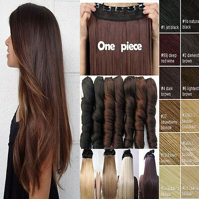 One Piece Real Thick Hair Extensions Wavy Straight Clip in Human Hairpiece Brown