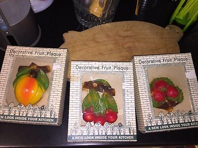 Set of 3 Vintage Chalkware Fruits Cherries Strawberries Peach New In Box