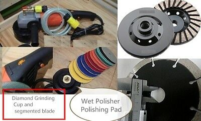 "4"" Wet Polisher granite concrete masonry polish pad cutting blade grinding cup"