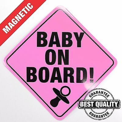 Baby On Board - Sign PINK  - Magnetic Car - Safety Kit