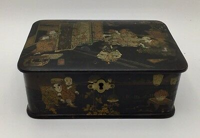 Antique Chinese Gold Black Lacquered  Box 19th Century