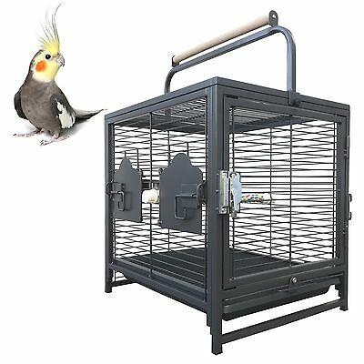 64cm Supreme Table Cage Alloy Budgie Cockatiel Bird Cage with Stand Perch A60