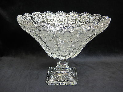 Vintage Queen Lace Bohemian Czech Hand Cut Glass Crystal Footed Centerpiece Bowl