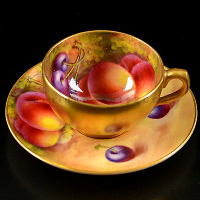 RARE ROYAL WORCESTER Fruit Painted MINIATURE Cup & Saucer EDWARD TOWNSEND SIGNED
