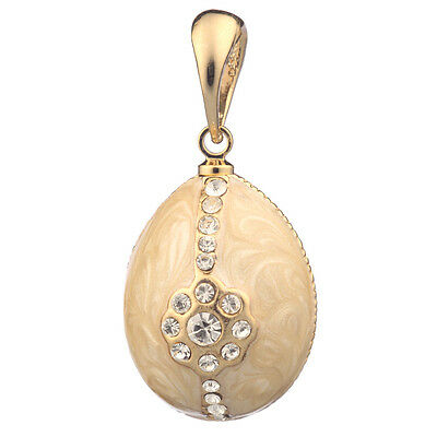 Faberge Egg Pendant / Charm with crystals 2.3 cm cream #0810-02