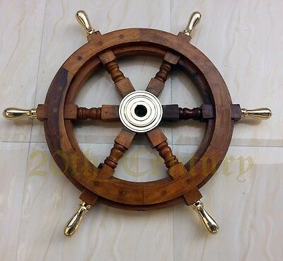 Ship Wheel Brass Center Wood Brass Handle Nautical Decor Boat Pirate Captain 18