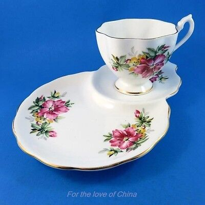 Pink Floral Hibiscus ? Queen Anne Tea Cup and Saucer Tennis Snack Set