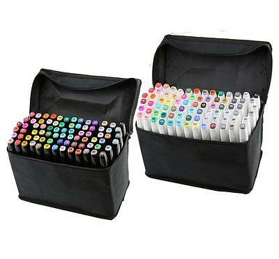 80 Farbe TwinTip Lackmarker  Pen Twin Sketch Marker Pen Stifte Manga Graphic Art